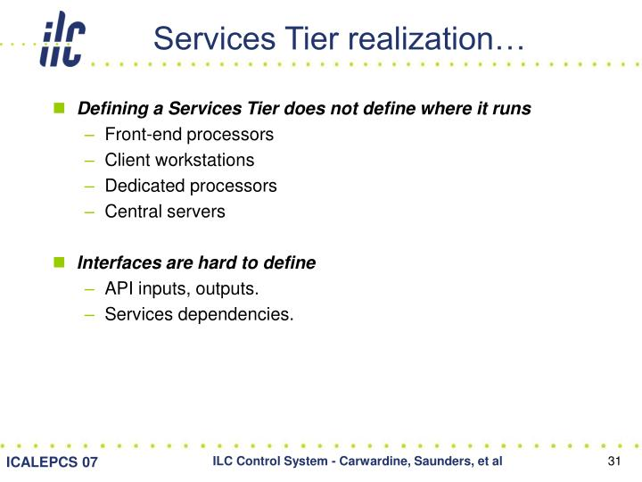 Services Tier realization…
