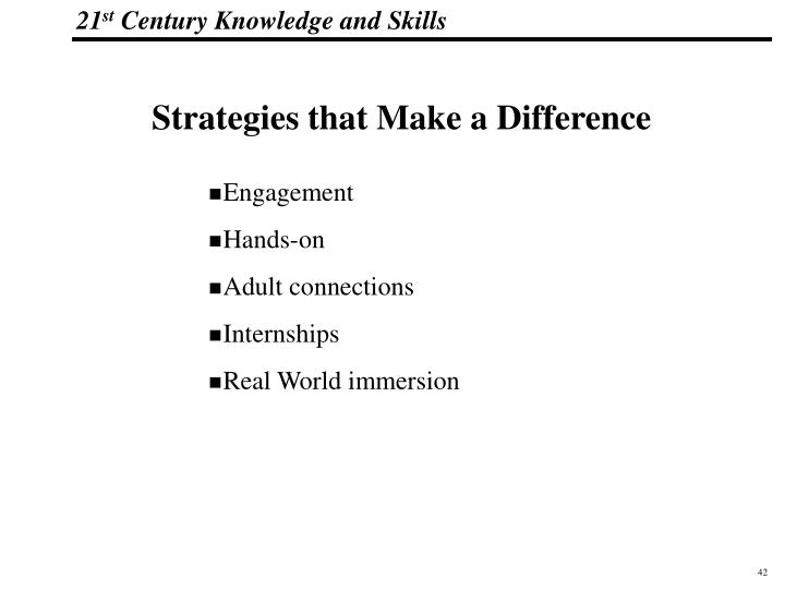 Strategies that Make a Difference