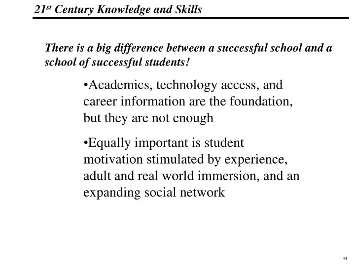 There is a big difference between a successful school and a school of successful students!