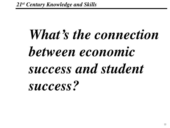 What's the connection between economic success and student success?