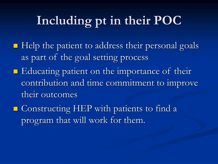 Including pt in their POC