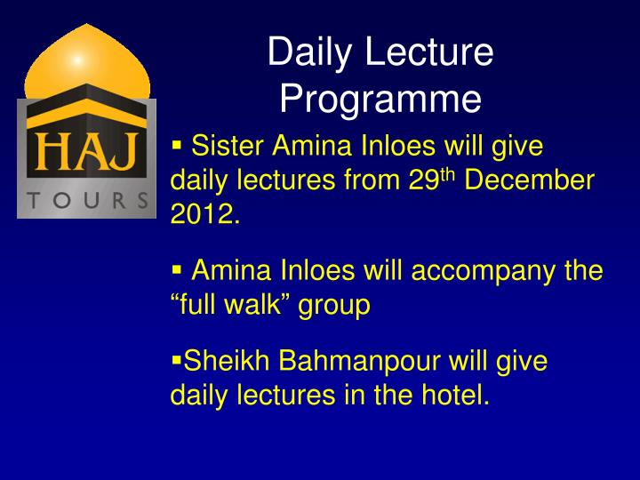 Daily Lecture Programme