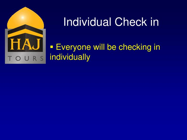 Individual Check in