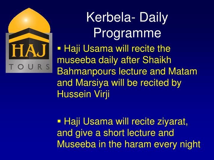 Kerbela- Daily Programme