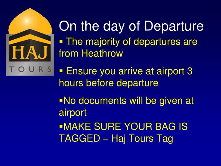 On the day of Departure