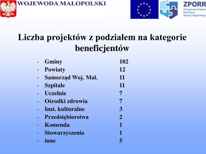 Liczba projektów z podziałem na kategorie beneficjentów