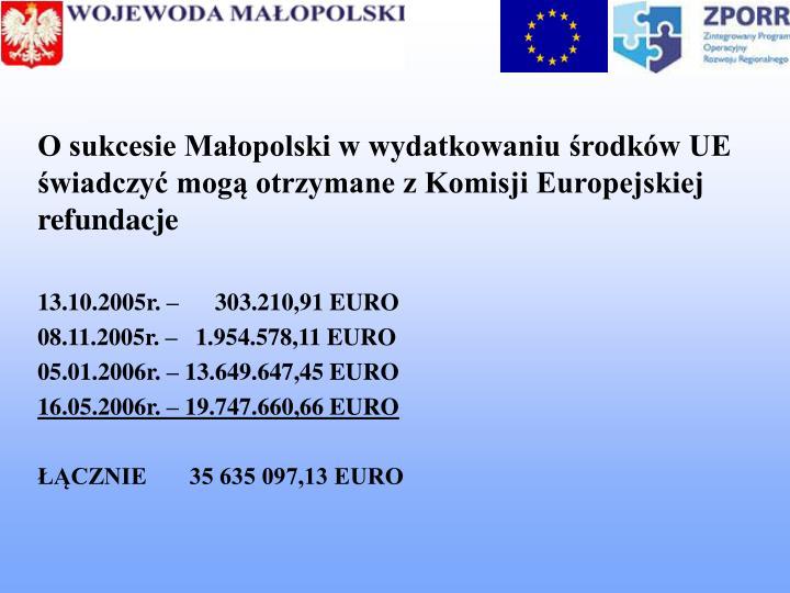 O sukcesie Małopolski w wydatkowaniu środków UE świadczyć mogą otrzymane z Komisji Europejskiej refundacje