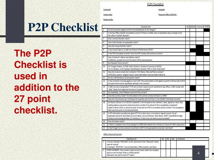 P2P Checklist