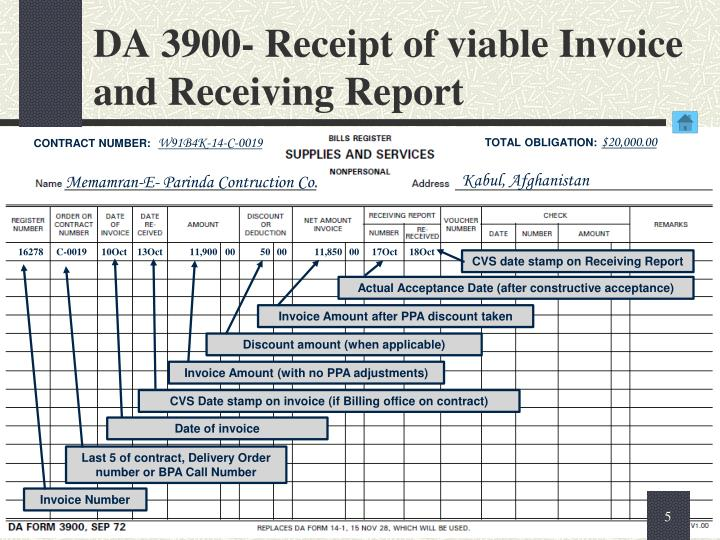DA 3900- Receipt of viable Invoice and Receiving Report