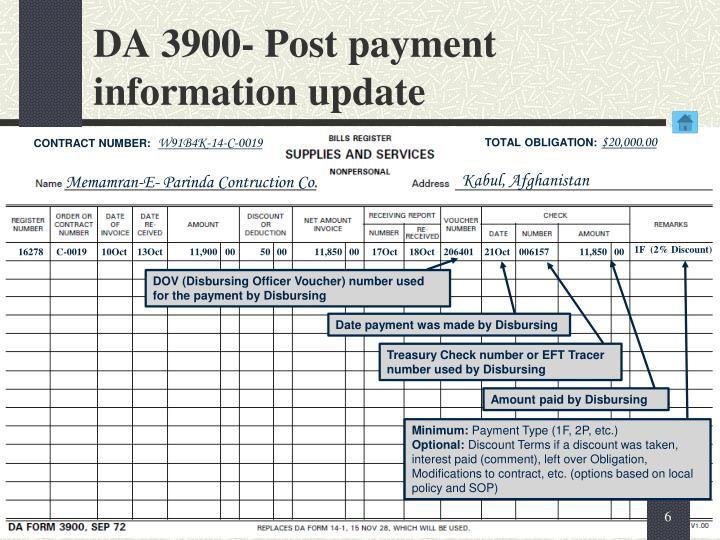 DA 3900- Post payment information update
