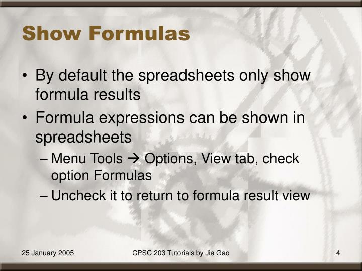 Show Formulas