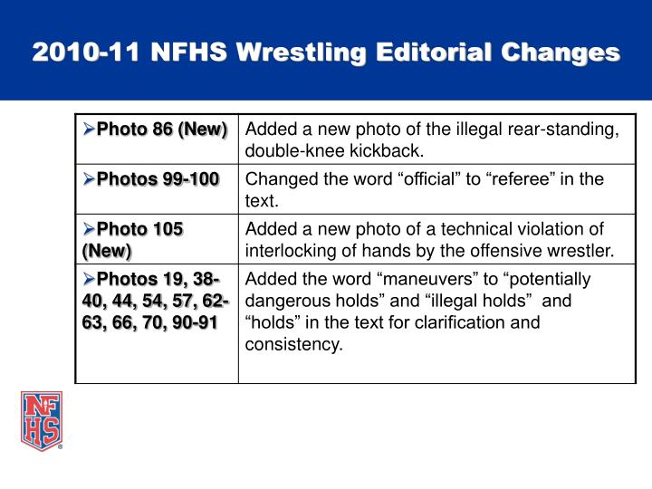 2010-11 NFHS Wrestling Editorial Changes