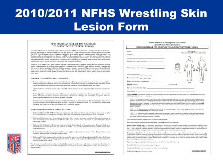 2010/2011 NFHS Wrestling Skin Lesion Form