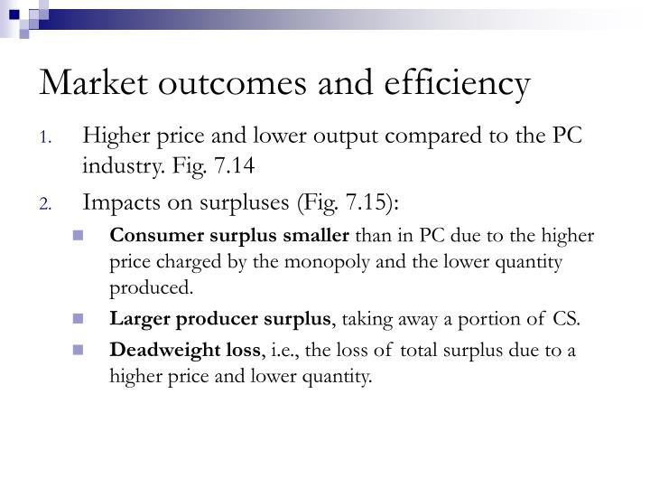 Market outcomes and efficiency