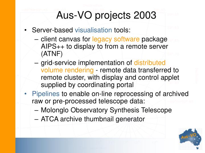 Aus-VO projects 2003