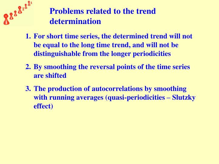Problems related to the trend determination