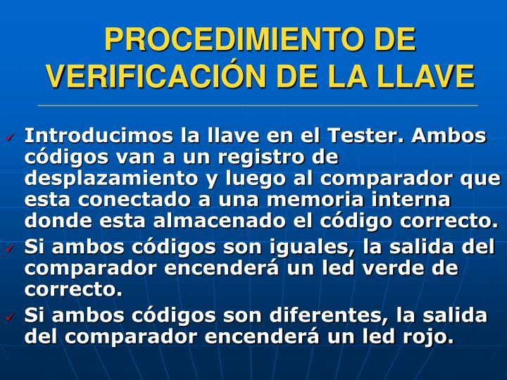 PROCEDIMIENTO DE VERIFICACIÓN DE LA LLAVE
