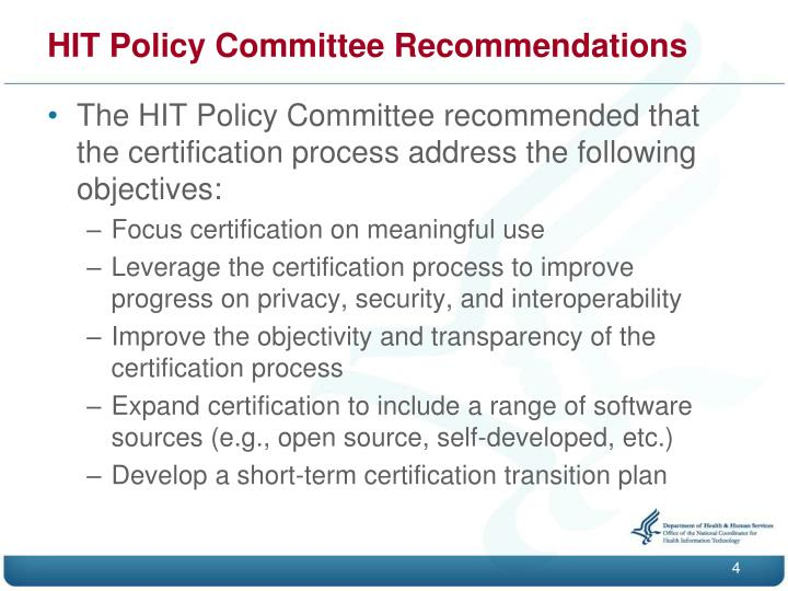 HIT Policy Committee Recommendations