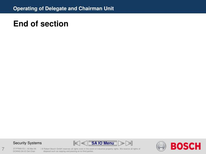 Operating of Delegate and Chairman Unit