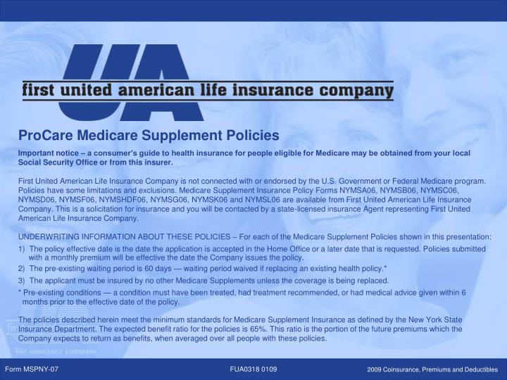 ProCare Medicare Supplement Policies