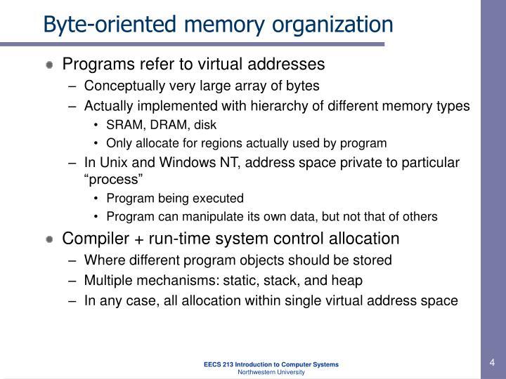 Byte-oriented memory organization