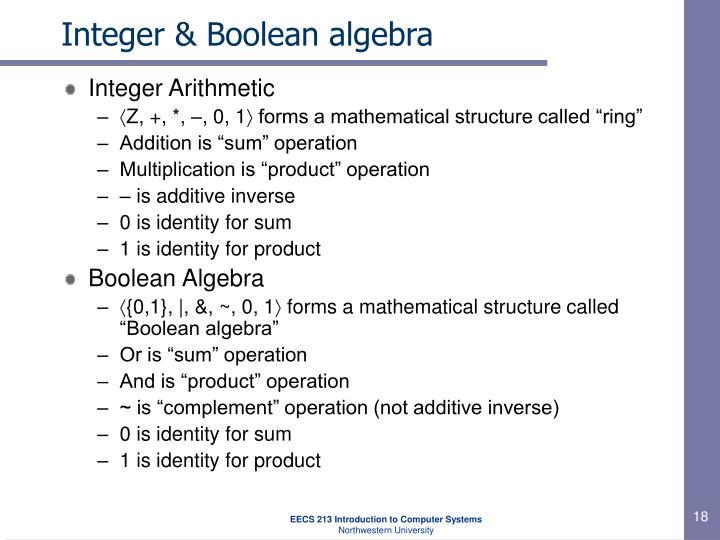 Integer & Boolean algebra