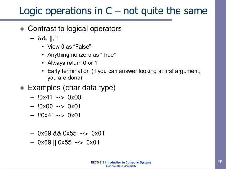 Logic operations in C – not quite the same