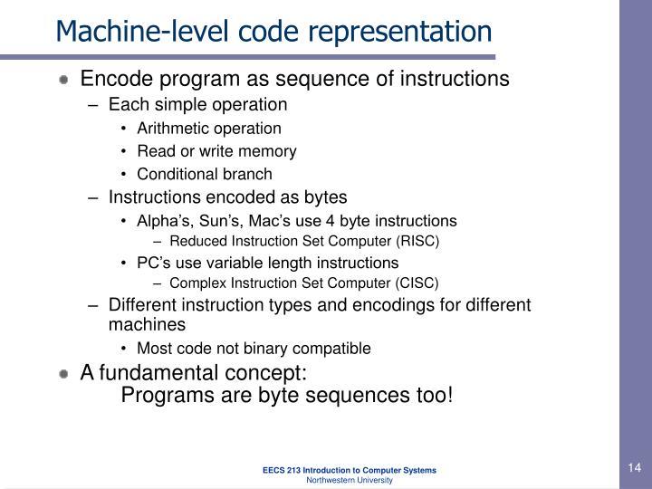 Machine-level code representation