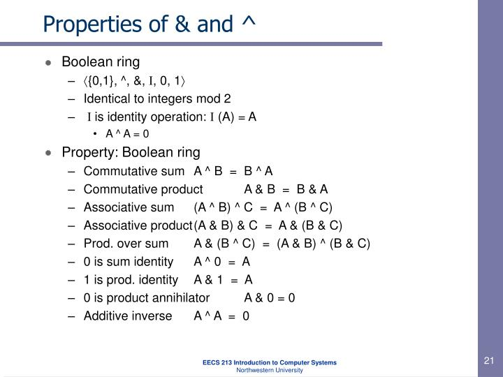 Properties of & and ^