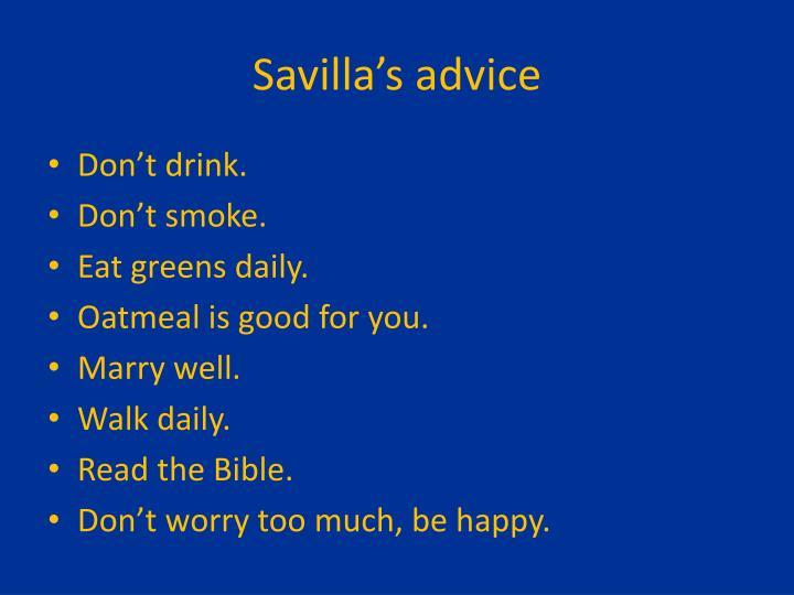 Savilla's advice