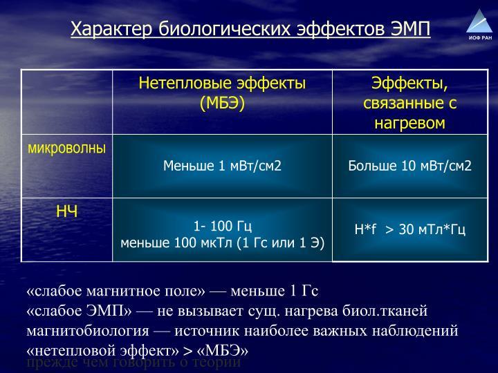 Характер биологических эффектов ЭМП