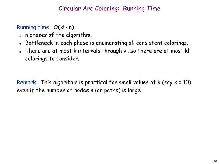 Circular Arc Coloring:  Running Time