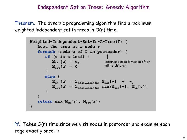 Independent Set on Trees:  Greedy Algorithm