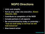 ngpo directions