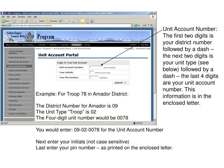 Unit Account Number: