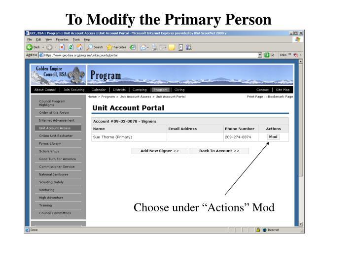 To Modify the Primary Person