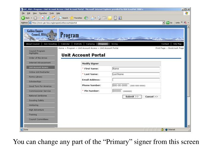 """You can change any part of the """"Primary"""" signer from this screen"""