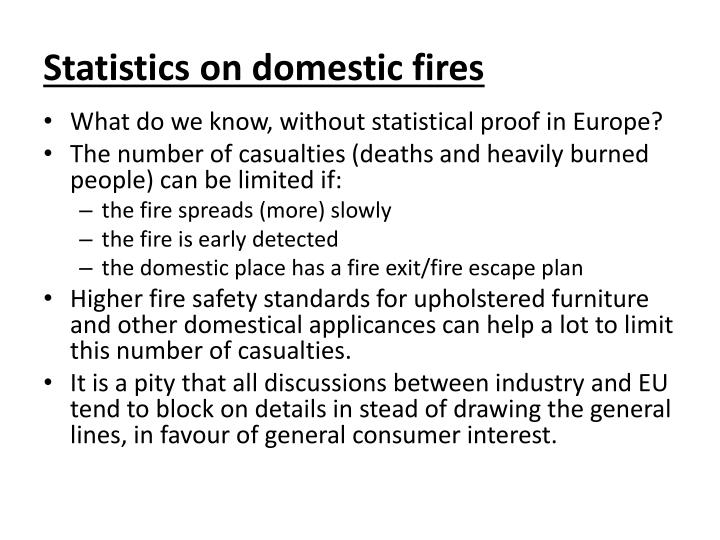 Statistics on domestic fires
