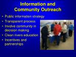 information and community outreach