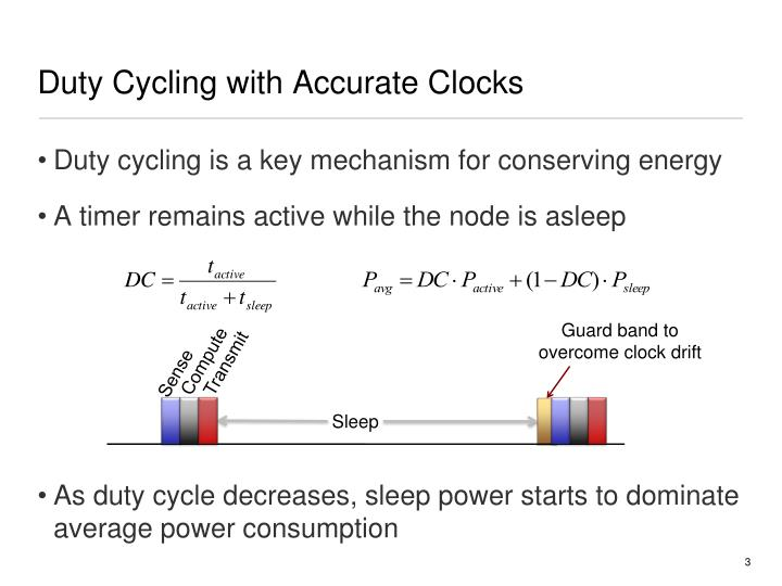 Duty cycling with accurate clocks1