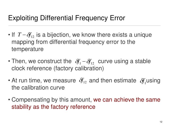 Exploiting Differential Frequency Error