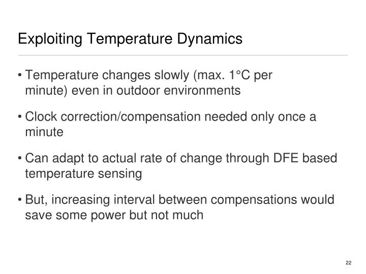 Exploiting Temperature Dynamics