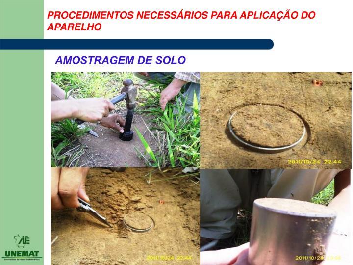 PROCEDIMENTOS NECESSÁRIOS PARA APLICAÇÃO DO APARELHO