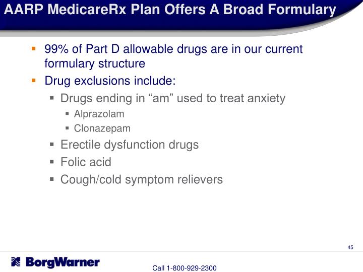 AARP MedicareRx Plan Offers A Broad Formulary