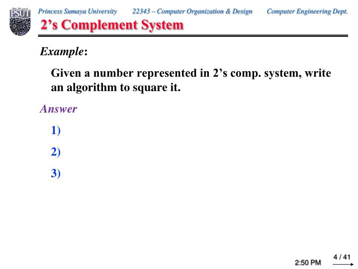 2's Complement System