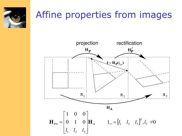 Affine properties from images