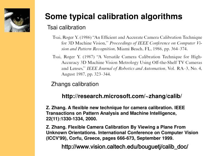 Some typical calibration algorithms