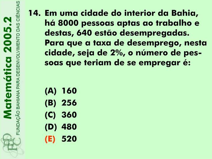 Em uma cidade do interior da Bahia, há 8000 pessoas aptas ao trabalho e destas, 640 estão desempregadas. Para que a taxa de desemprego, nesta cidade, seja de 2%, o número de pes-soas que teriam de se empregar é: