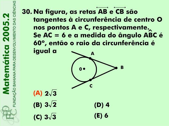 Na figura, as retas AB e CB são tangentes à circunferência de centro O nos pontos A e C, respectivamente.