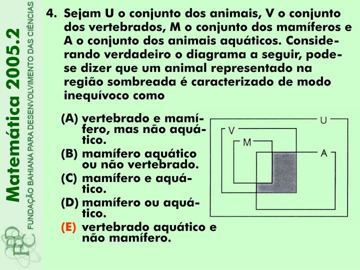 Sejam U o conjunto dos animais, V o conjunto dos vertebrados, M o conjunto dos mamíferos e A o conjunto dos animais aquáticos. Conside-rando verdadeiro o diagrama a seguir, pode-se dizer que um animal representado na região sombreada é caracterizado de modo inequívoco como